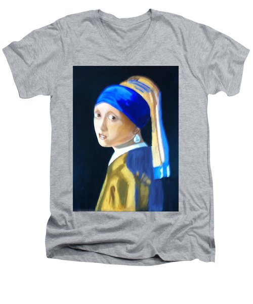 Men's V-Neck T-Shirt featuring the painting My Version-girl With The Pearl Earring by Rod Jellison