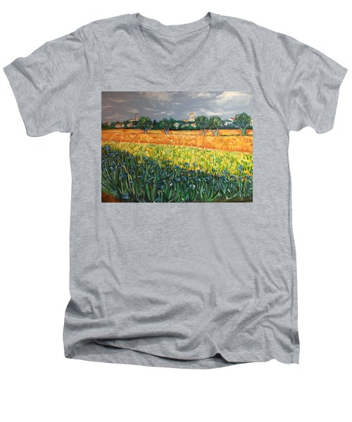 My View Of Arles With Irises Men's V-Neck T-Shirt