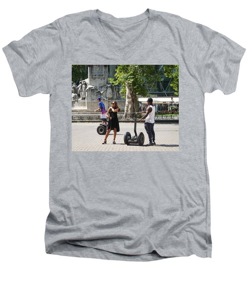 Men's V-Neck T-Shirt featuring the photograph My Way Or The Segway by Alex Lapidus