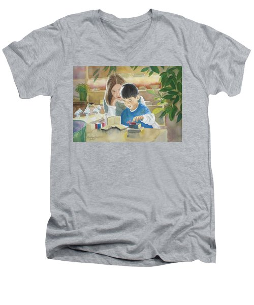 Men's V-Neck T-Shirt featuring the painting My Work by Marilyn Jacobson