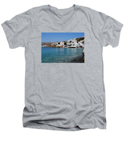 Mykonos Beach Men's V-Neck T-Shirt by Robert Moss