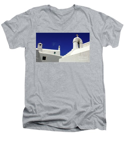 Men's V-Neck T-Shirt featuring the photograph Mykonos Greece Architectual Line 5 by Bob Christopher