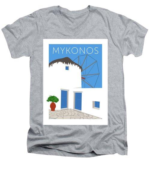Mykonos Windmill - Blue Men's V-Neck T-Shirt