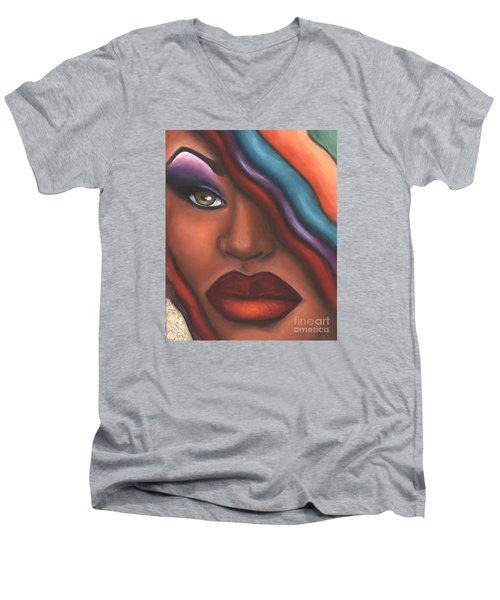 Men's V-Neck T-Shirt featuring the mixed media Mysterioso Too by Alga Washington