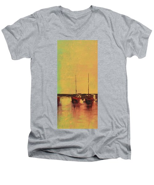 Mystic Bay Triptych 2 Of 3 Men's V-Neck T-Shirt