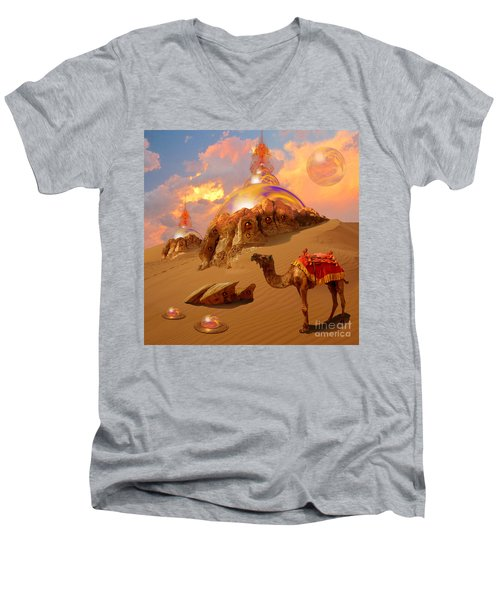 Men's V-Neck T-Shirt featuring the digital art Mystic Desert by Alexa Szlavics