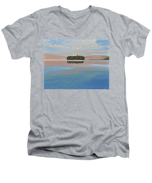 Men's V-Neck T-Shirt featuring the painting Mystic Island by Kenneth M  Kirsch