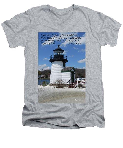 Mystic Lighthouse John 8-12 Men's V-Neck T-Shirt