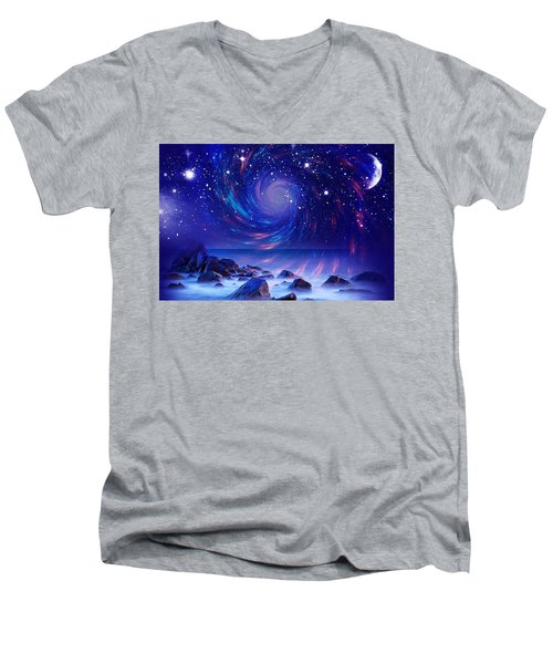 Mystic Lights Men's V-Neck T-Shirt by Gabriella Weninger - David