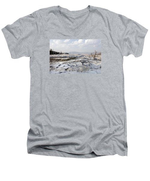 Mystic Scene From The Lower Terrace In Yellowstone National Park Men's V-Neck T-Shirt