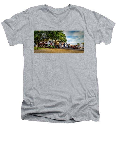 Mystic Seaport Village Men's V-Neck T-Shirt