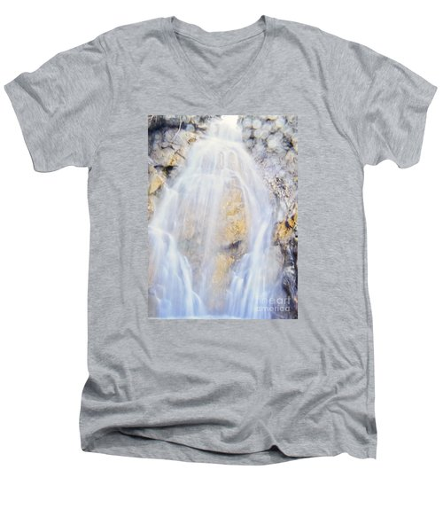 Men's V-Neck T-Shirt featuring the photograph Mystical Falls by Janie Johnson