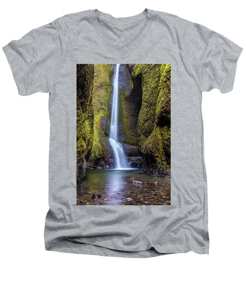 Mystical Oneonta Falls Men's V-Neck T-Shirt by Pierre Leclerc Photography