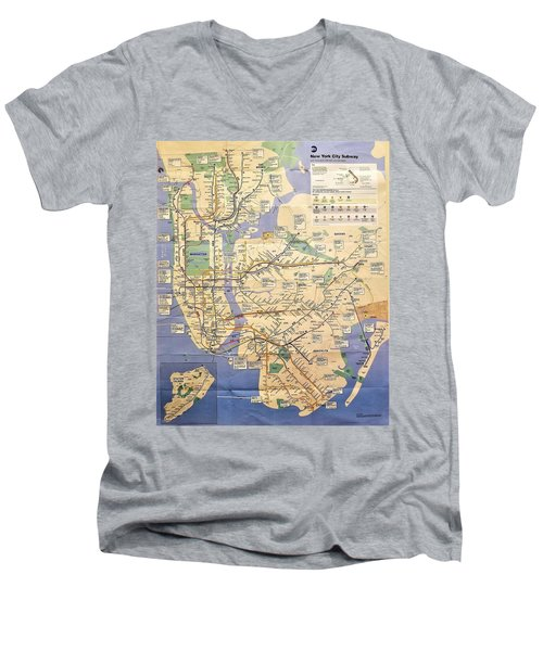 N Y C Subway Map Men's V-Neck T-Shirt