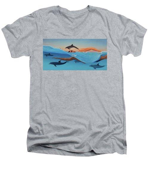 Nadando Contra Corriente Men's V-Neck T-Shirt