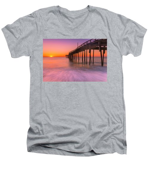 Nags Head Avon Fishing Pier At Sunrise Men's V-Neck T-Shirt