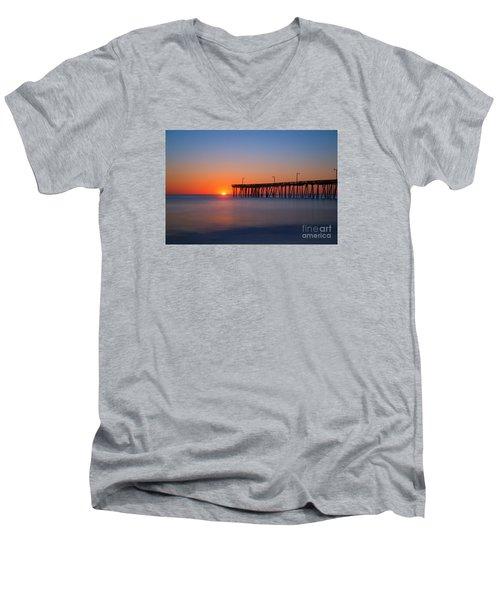 Nags Head Fishing Pier Sunrise Men's V-Neck T-Shirt