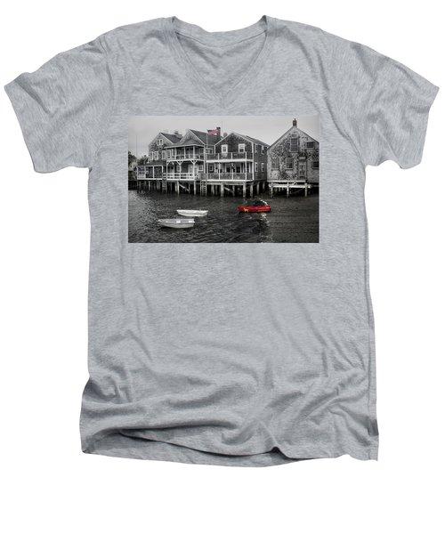 Nantucket In Bw Series 6139 Men's V-Neck T-Shirt