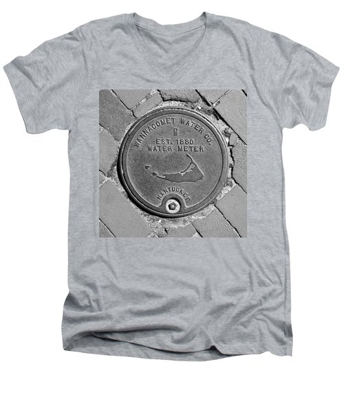 Nantucket Water Meter Cover Men's V-Neck T-Shirt by Charles Harden