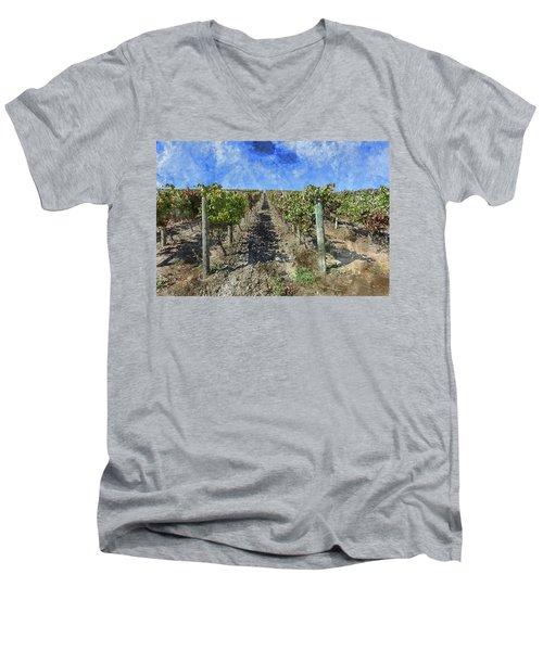 Napa Valley Vineyard - Rows Of Grapes Men's V-Neck T-Shirt