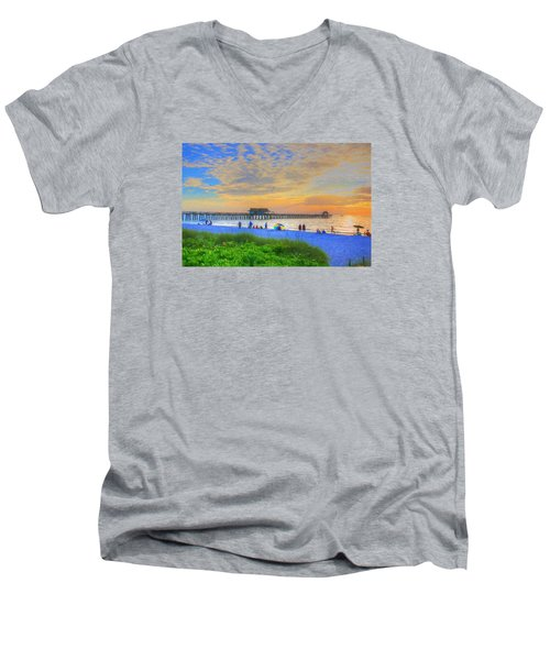 Men's V-Neck T-Shirt featuring the digital art Naples Beach by Sharon Batdorf