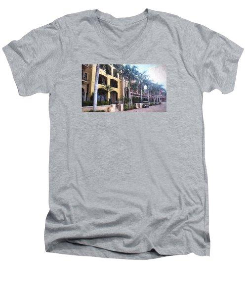 Naples On The Waterfront Men's V-Neck T-Shirt by Rena Trepanier
