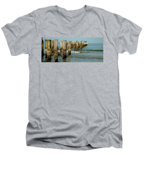 Naples Pier And Pelicans Men's V-Neck T-Shirt