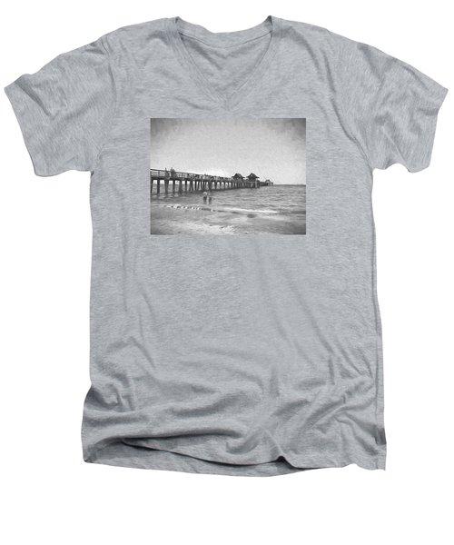 Naples Pier Men's V-Neck T-Shirt by Rena Trepanier