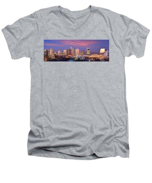 Nashville Skyline At Dusk 2018 Panorama Color Men's V-Neck T-Shirt