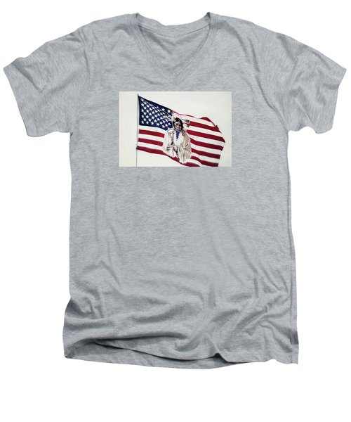 Men's V-Neck T-Shirt featuring the photograph Native American Flag by Emanuel Tanjala