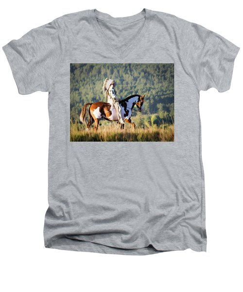 Native American On His Paint Horse Men's V-Neck T-Shirt