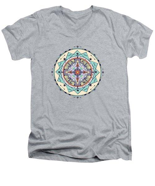 Men's V-Neck T-Shirt featuring the digital art Native Symbols Mandala by Deborah Smith