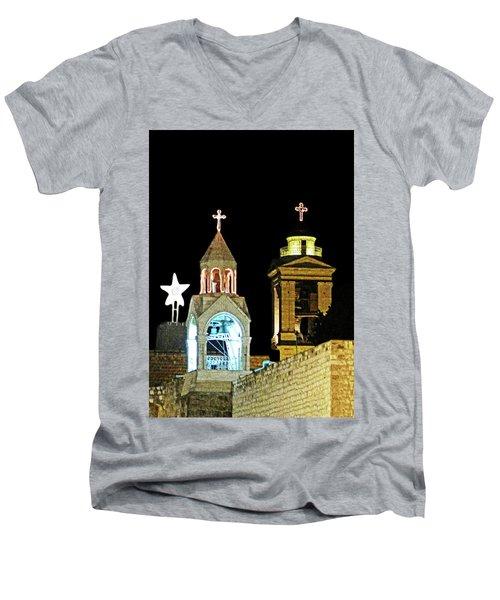Nativity Church Lights Men's V-Neck T-Shirt