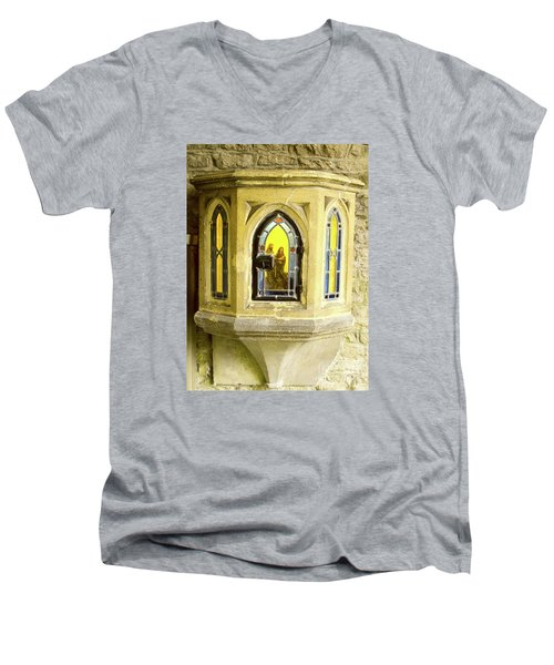 Nativity In Ancient Stone Wall Men's V-Neck T-Shirt by Linda Prewer