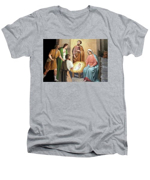 Nativity Scene Painting At Nativity Church Men's V-Neck T-Shirt