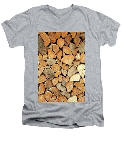 Natural Wood Men's V-Neck T-Shirt by AugenWerk Susann Serfezi