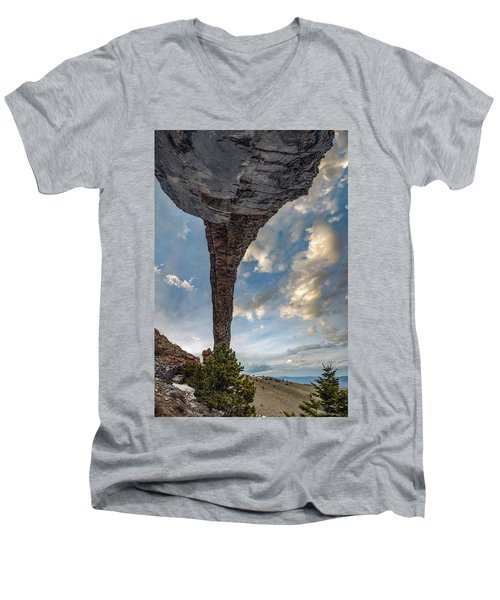 Men's V-Neck T-Shirt featuring the photograph Natural Arch 2 by Leland D Howard