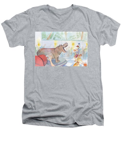 Natural History Hippo Men's V-Neck T-Shirt
