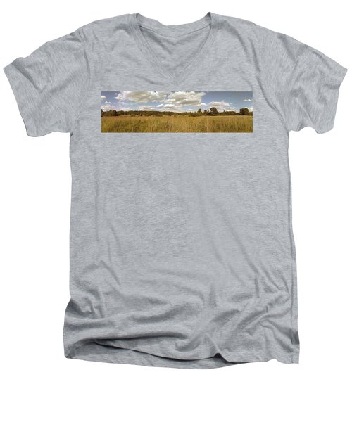 Natural Meadow Landscape Panorama. Men's V-Neck T-Shirt