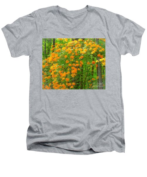 Men's V-Neck T-Shirt featuring the photograph Natural Wild Azaleas  by Rand Herron