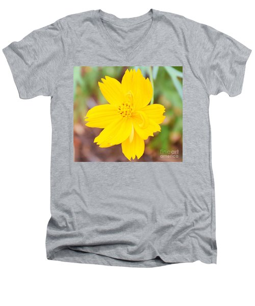 Men's V-Neck T-Shirt featuring the photograph Nature Colorful Flower Gifts - Yellow by Ray Shrewsberry