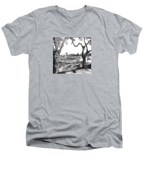 Men's V-Neck T-Shirt featuring the drawing Nature Sketch by John Stuart Webbstock