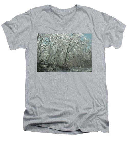 Men's V-Neck T-Shirt featuring the photograph Nature's Frosting by Ellen Levinson