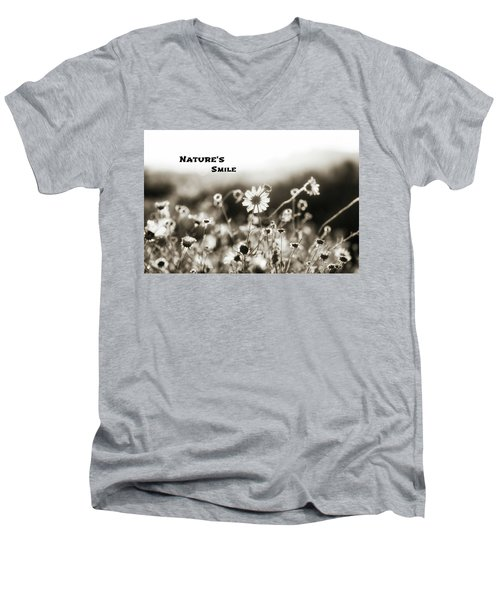 Nature's  Smile Monochrome Men's V-Neck T-Shirt