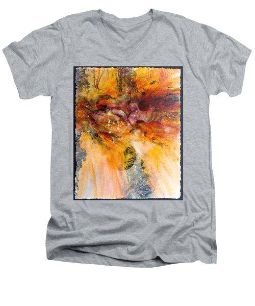 Naturescape In Red Men's V-Neck T-Shirt