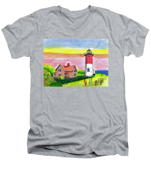 Nauset Point Lighthouse Men's V-Neck T-Shirt