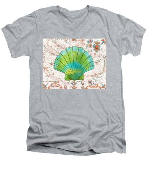 Men's V-Neck T-Shirt featuring the painting Nautical Treasures-b by Jean Plout