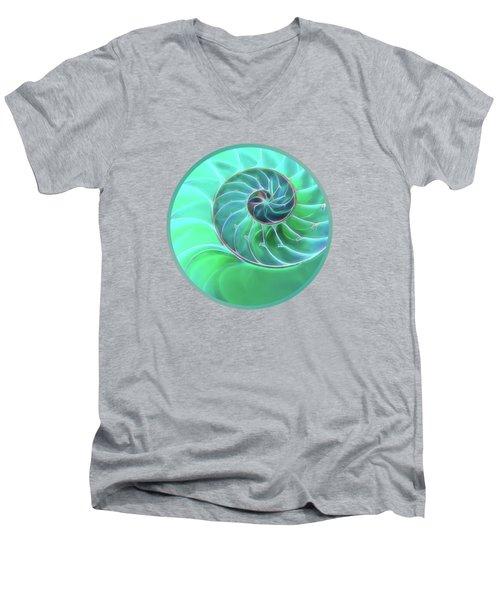 Nautilus Aqua Spiral Men's V-Neck T-Shirt by Gill Billington
