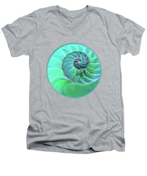 Nautilus Aqua Spiral Men's V-Neck T-Shirt