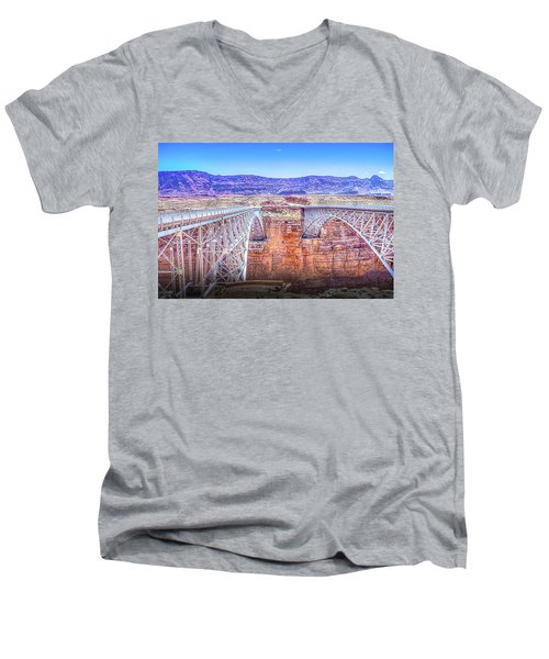 Navajo Bridge Men's V-Neck T-Shirt by Mark Dunton
